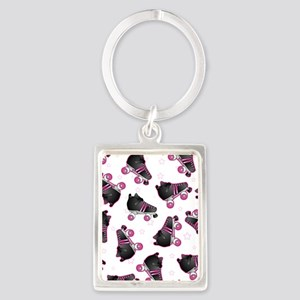 Black and Pink Roller Skates Pri Portrait Keychain