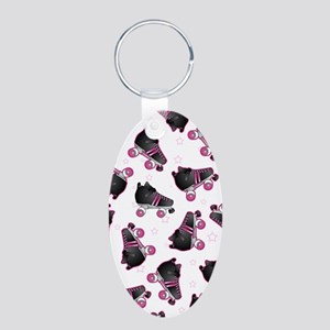 Black and Pink Roller Skate Aluminum Oval Keychain