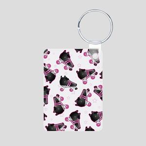 Black and Pink Roller Skat Aluminum Photo Keychain