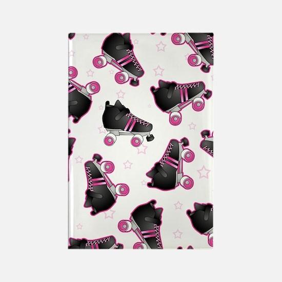 Black and Pink Roller Skates Prin Rectangle Magnet