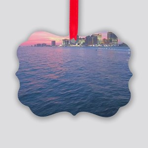 sunset on the water Picture Ornament