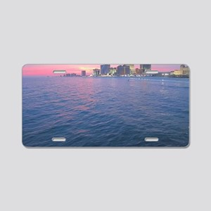 sunset on the water Aluminum License Plate