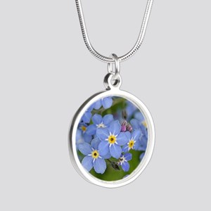 Forget me nots Silver Round Necklace