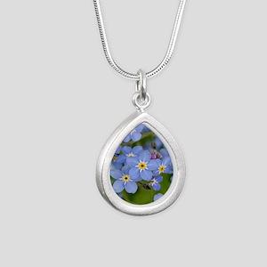 Forget me nots Silver Teardrop Necklace