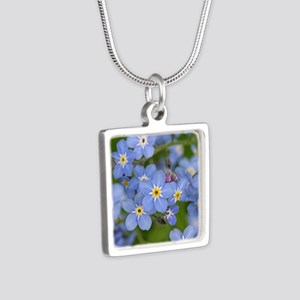 Forget me nots Silver Square Necklace