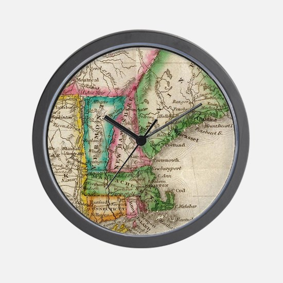 Vintage Map of New England (1822) Wall Clock
