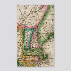 Vintage Map of New England (1822) Area Rug