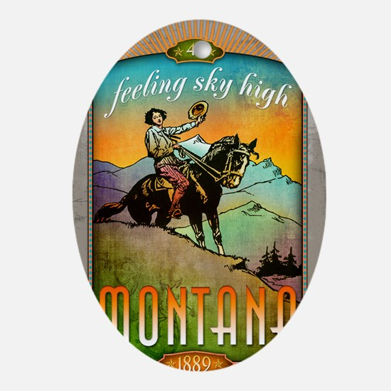 Montana Poster Art Oval Ornament