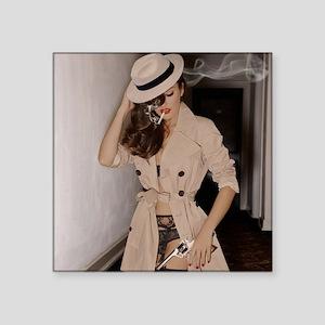 "Femme Fatale Smoking and Gu Square Sticker 3"" x 3"""