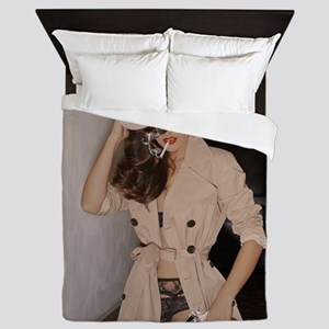 Femme Fatale Smoking and Guns Queen Duvet