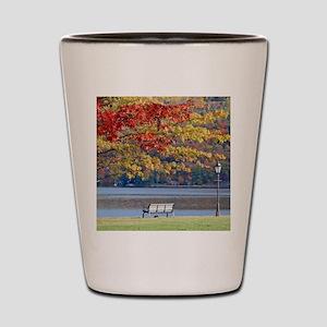 Autumn Park Bench Shot Glass