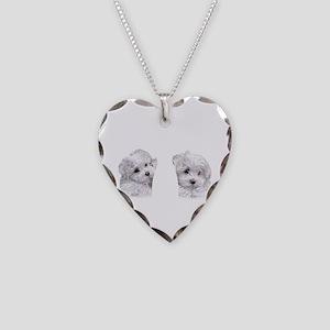 Bichon Frise flip flops Necklace Heart Charm