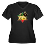 Zion Lion Women's Plus Size V-Neck Dark T-Shirt