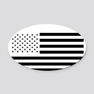 Black and White American Flag Oval Car Magnet