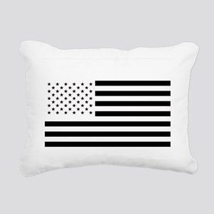 Black and White American Rectangular Canvas Pillow