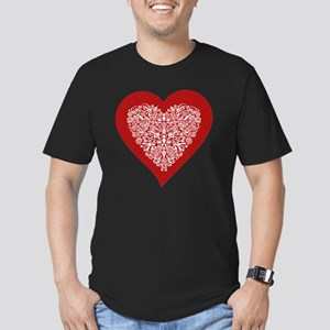 Red sparkling heart wi Men's Fitted T-Shirt (dark)