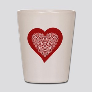 Red sparkling heart with detailed white Shot Glass