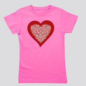 Red sparkling heart with detailed white Girl's Tee