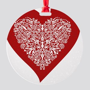 Red sparkling heart with detailed w Round Ornament