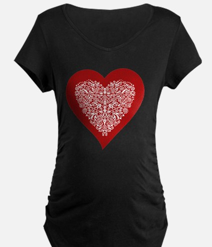 Red sparkling heart with de T-Shirt