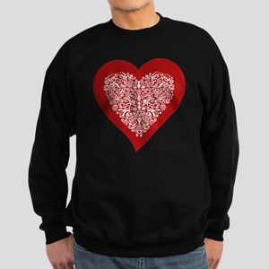 Red sparkling heart with detaile Sweatshirt (dark)