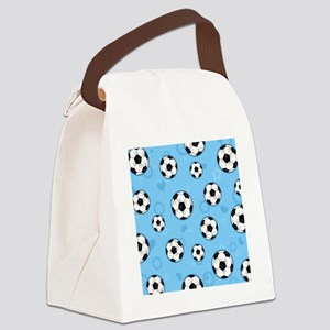 Cute Soccer Ball Print - Blue Canvas Lunch Bag