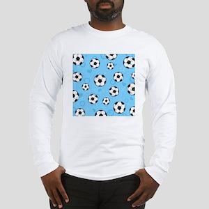 Cute Soccer Ball Print - Blue Long Sleeve T-Shirt