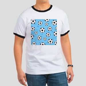Cute Soccer Ball Print - Blue Ringer T