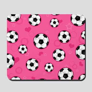 Cute Soccer Ball Print - Pink Mousepad