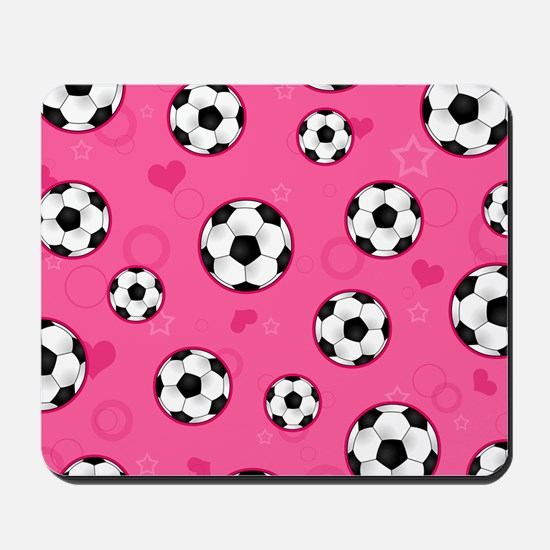 Cute Soccer Ball Print - Pink Mousepad