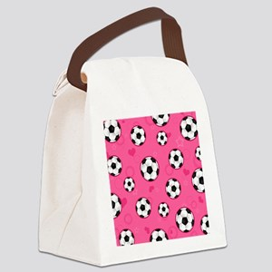 Cute Soccer Ball Print - Pink Canvas Lunch Bag