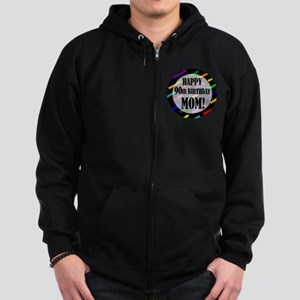 90th Birthday For Mom Zip Hoodie (dark)