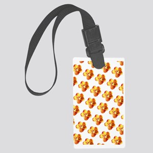 Orange Gold Floral Splendor 23 Large Luggage Tag