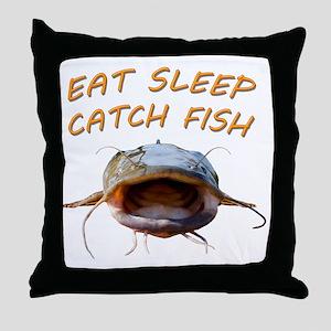 Eat sleep catch fish Throw Pillow