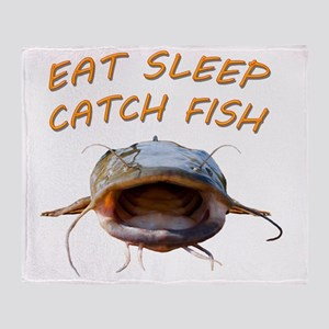 Eat sleep catch fish Throw Blanket