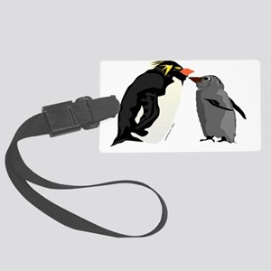 Rockhopper Penguin mom and chick Large Luggage Tag