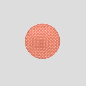 Coral Quatrefoil Pattern Mini Button
