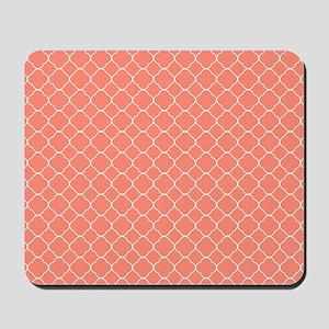 Coral Quatrefoil Pattern Mousepad