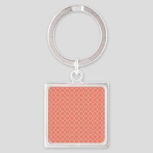 Coral Quatrefoil Pattern Square Keychain