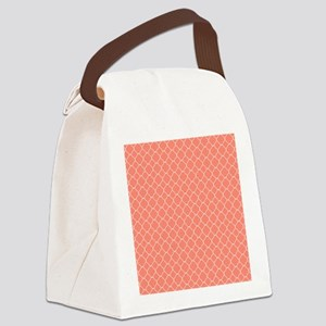 Coral Quatrefoil Pattern Canvas Lunch Bag