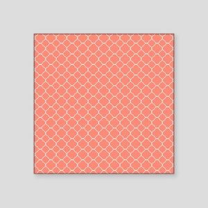 "Coral Quatrefoil Pattern Square Sticker 3"" x 3"""