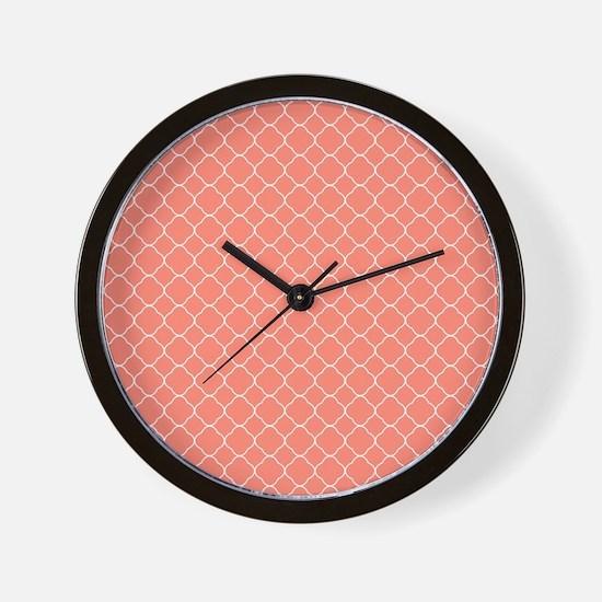 Coral Quatrefoil Pattern Wall Clock