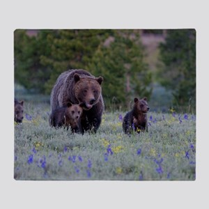 Grizzly Bear# 399  Triplets Throw Blanket