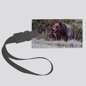 Grizzly Bear 399  Triple Cubs, J Large Luggage Tag
