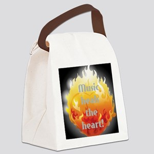 black background flaming heart Canvas Lunch Bag