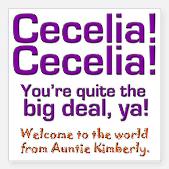 "cecelia bear 2 Square Car Magnet 3"" x 3"""