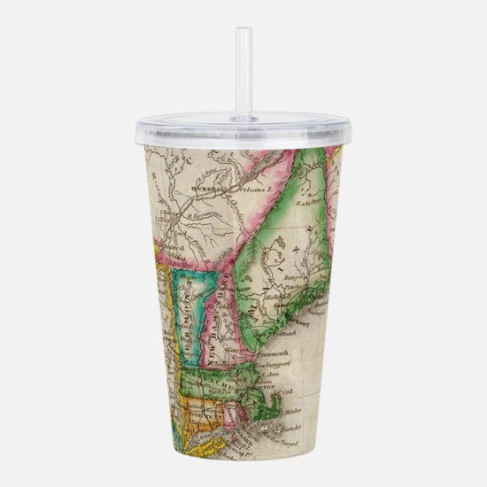 Vintage Map of New Eng Acrylic Double-wall Tumbler