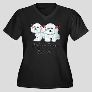 BICHON FRISE Women's Plus Size Dark V-Neck T-Shirt