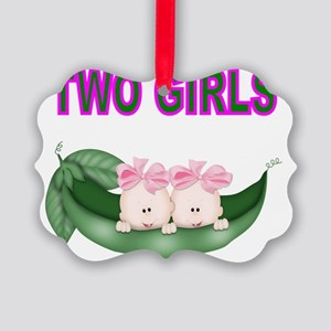 TWO GIRLS IN POD Picture Ornament