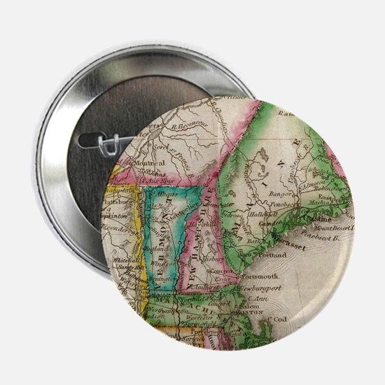 "Vintage Map of New England (1822) 2.25"" Button"